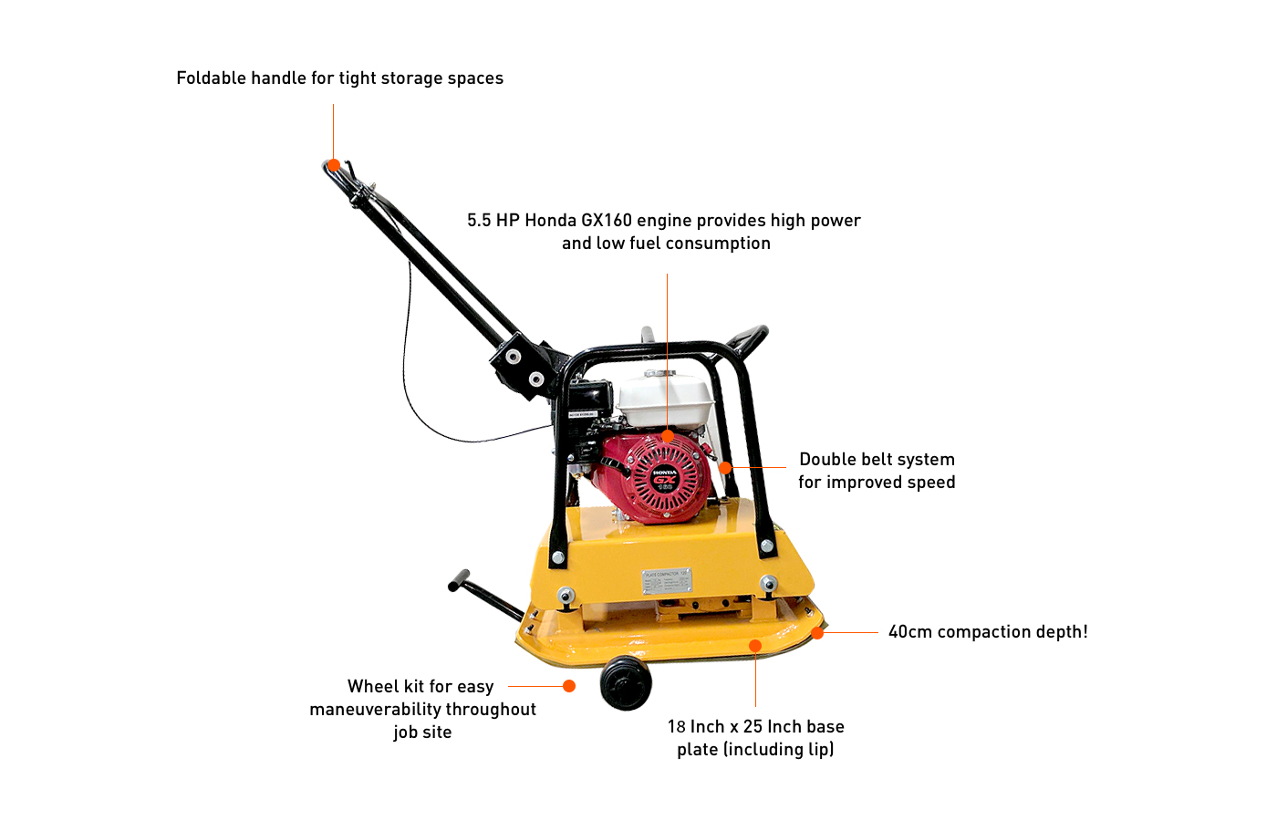 Commercial Compactor Wheel : Honda gx plate compactor tamper inch water wheel